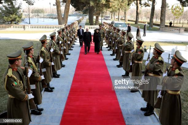 Georgian President Salome Zurabishvili is being welcomed by Afghan President Ashraf Ghani at the Presidential Palace in Kabul, Afghanistan on...