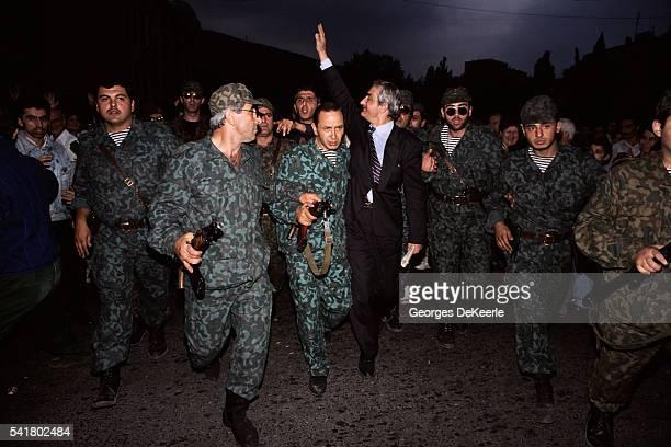 Georgian President Zviad Gamsakhurdia Protected by the Army