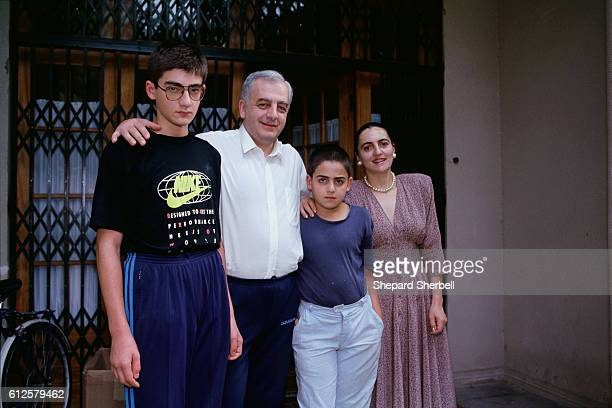 Georgian president Zviad Gamsakhurdia stands with his wife Manana and their two sons In May of 1991 Gamsakhurdia was the first democratically elected...