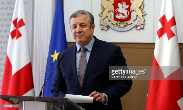 Georgian Prime Minister Giorgi Kvirikashvili speaks during a press conference in Tbilisi on June 13 2018 Georgian Prime Minister Giorgi Kvirikashvili...