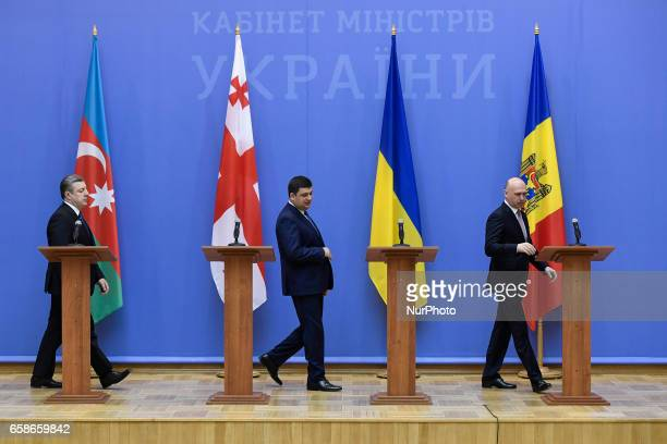 Georgian Prime Minister Giorgi Kvirikashvili Ukrainian Prime Minister Volodymyr Groysman and Moldovan Prime Minister Pavel Filip during a meeting of...