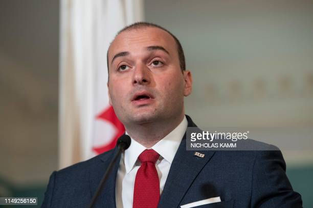 Georgian Prime Minister Mamuka Bakhtadze speaks with US Secretary of State Mike Pompeo as part of the USGeorgia Strategic Partnership Commission at...