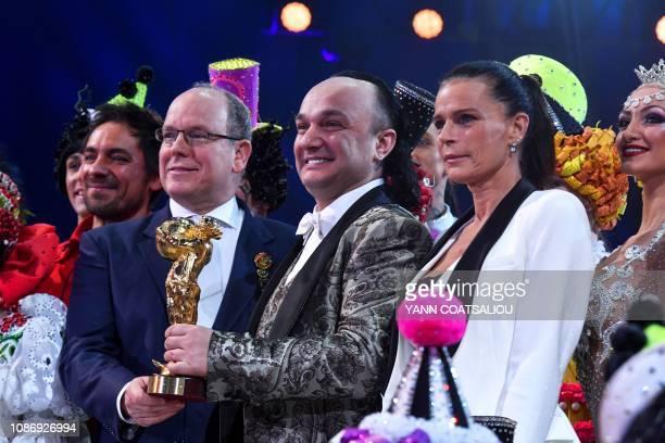 Georgian producer and wild cat trainer Gia Eradze receives a gold clown awards from Prince Albert II of Monaco and Princess Stephanie de Monaco...