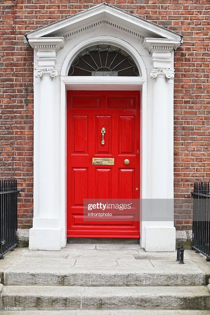 Georgian style red wooden door : Stock Photo