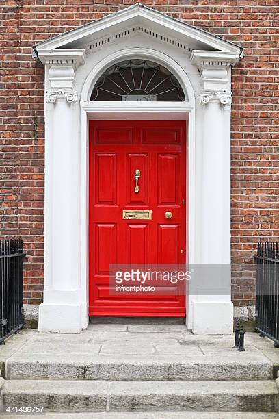 georgian style red wooden door - door knocker stock photos and pictures
