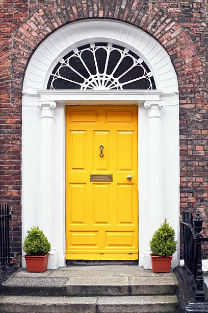 Georgian style yellow wooden door