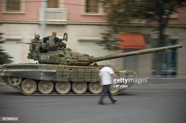 Georgian tanks race through the streets August 11 2008 in Gori Georgia Russian forces have advanced into Georgia through the separatist enclave of...