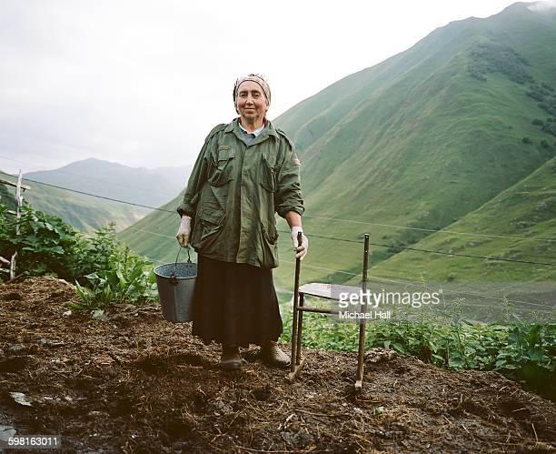 georgian woman at home in remote village - コーカサス ストックフォトと画像
