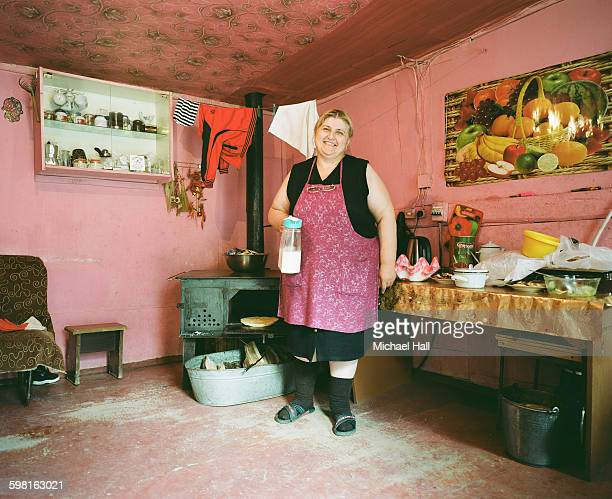 Georgian woman at home in remote village