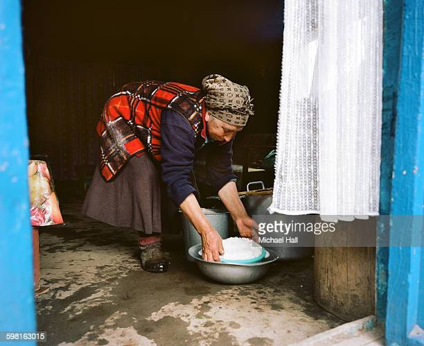 Georgian woman making cheese