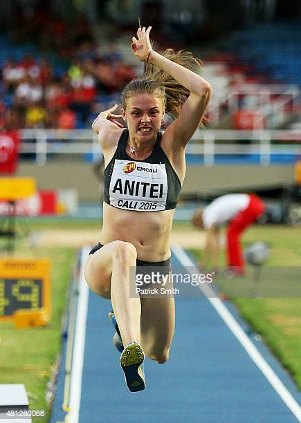 Georgiana Iuliana Anitei of Romania in action during the Girls Triple Jump Final on day four of the IAAF World Youth Championships Cali 2015 on July...