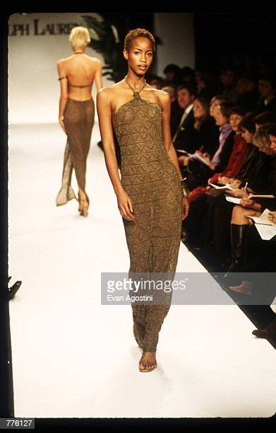 Georgianna Robertson models a dress from the Ralph Lauren Spring 97 collection at the 7th on Sixth Fashion Show October 30 1996 in New York City...