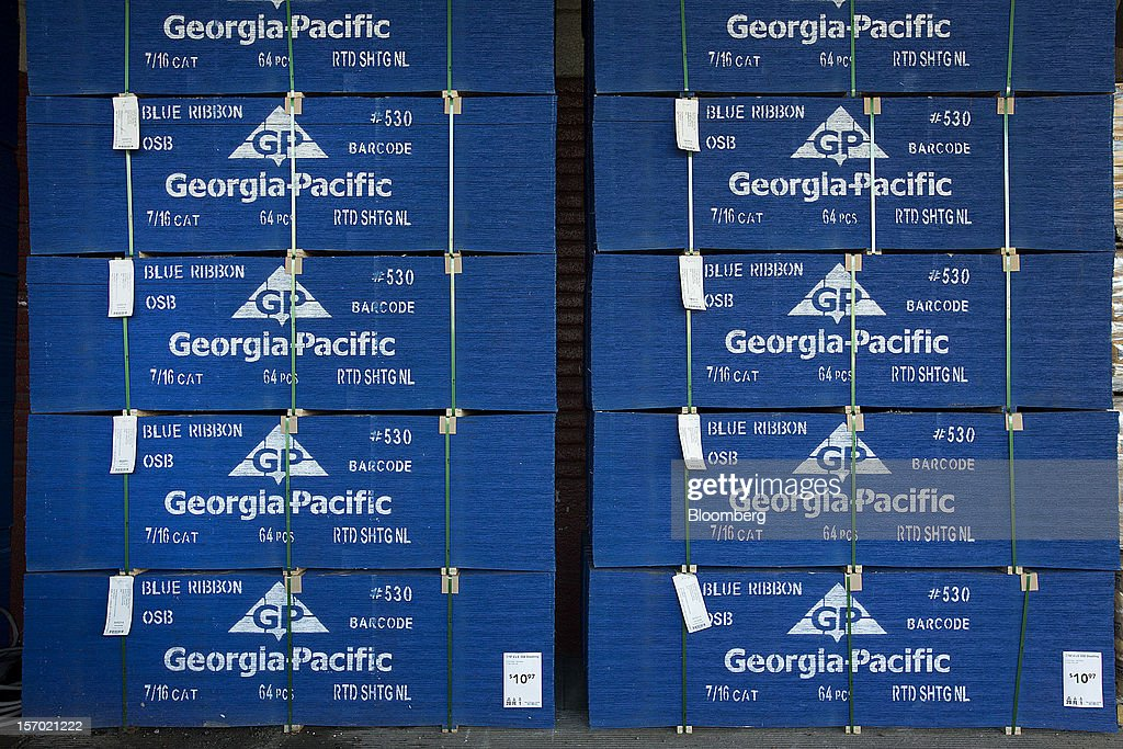 Georgia-Pacific LLC plywood sits stacked on display at a Lowe's Cos
