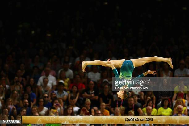 GeorgiaRose Brown of Australia competes in the Women's Balance Beam Final during Gymnastics on day five of the Gold Coast 2018 Commonwealth Games at...