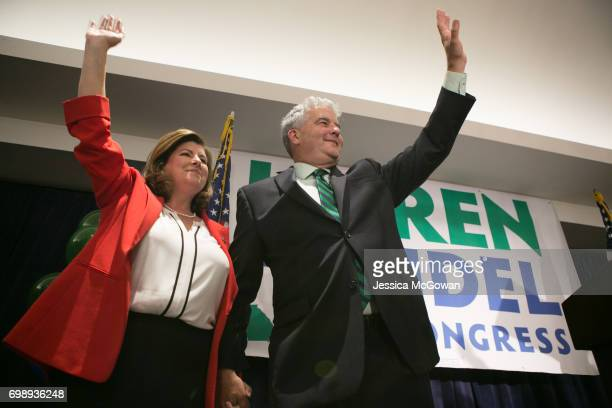 Georgia's 6th Congressional district Republican candidate Karen Handel and husband Steve Handel gives a victory speech to supporters gathered at the...