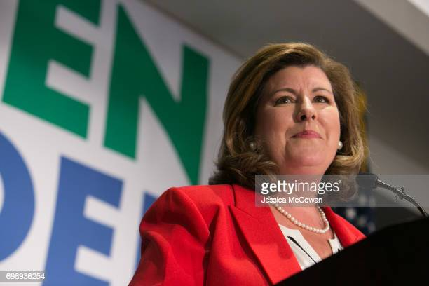 Georgia's 6th Congressional district Republican candidate Karen Handel gives a victory speech to supporters gathered at the Hyatt Regency at Villa...