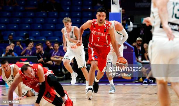 Georgia's center Zaza Pachulia dribbles the ball up the court during the FIBA EuroBasket 2017 basketball championship match between Lithuania and...