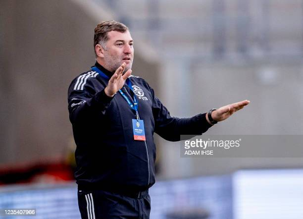 Georgia's coach Giorgi Chkhaidze gesticulates from the sidelines during the 2023 FIFA Women's World Cup qualifying football match group A between...