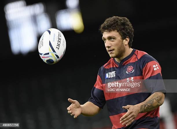 Georgia's fullback Giorgi Aptsiauri catches the ball during the captain's run at the Millennium stadium in Cardiff south Wales on September 30 two...