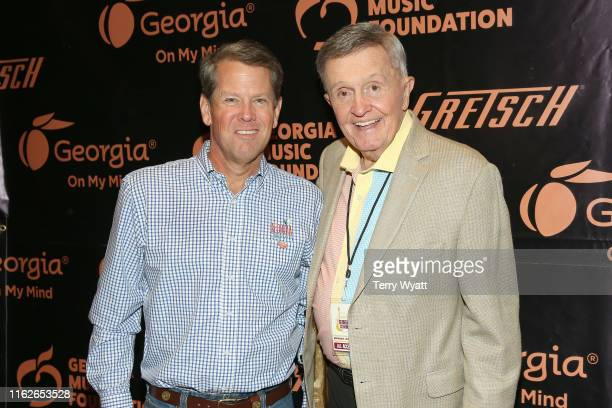 Georgia's governor Brian Kemp and musician Bill Anderson take photos backstage during the 6th Annual Georgia On My Mind presented by Gretsch at Ryman...