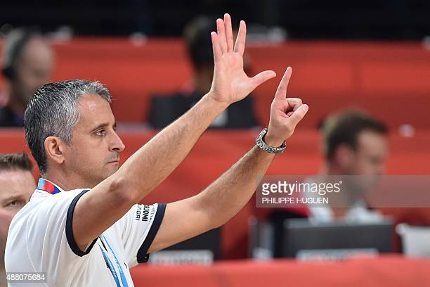 Georgia's head coach Igor Kokoskov gestures during the round of 16 basketball match between Lithuania and Georgia at the EuroBasket 2015 in Lille,...