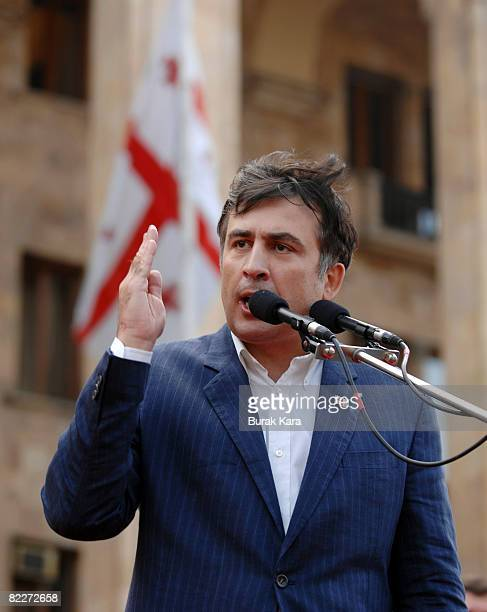 Georgia's President Mikheil Saakashvili gives a speech at a rally on August 12 2008 in Tbilisi Georgia 150000 people gathered outside Georgia's...