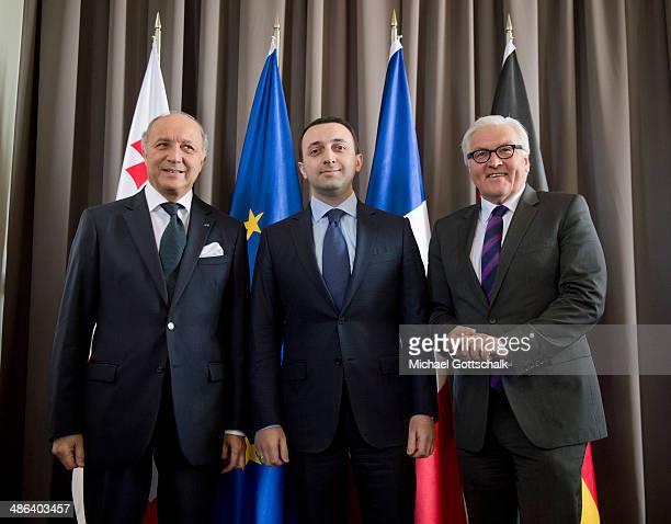 Georgias Prime Minister Irakli Gharibashvili, German Foreign Minister Frank-Walter Steinmeier, and French Foreign Minister Laurent Fabius meet on...