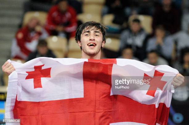Georgias Shmagi Bolkvadze wins gold during the Senior U23 Wrestling World Championships in the 66 kg class on November 22 2017