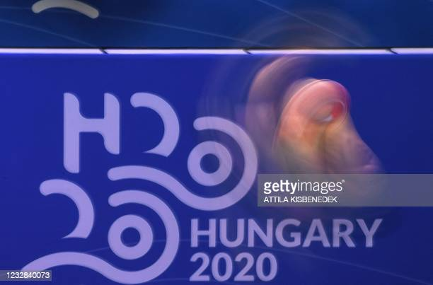 Georgia's Tornike Onikashvili competes in the preliminary for the Men's 1m Springboard Diving event during the LEN European Aquatics Championships at...