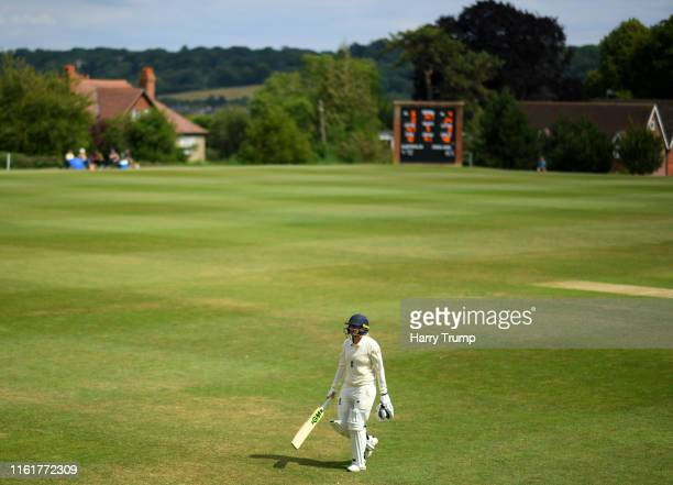 Georgie Boyce of England Women's Academy walks off after being dismissed during Day Three of the International Friendly match between England Women's...