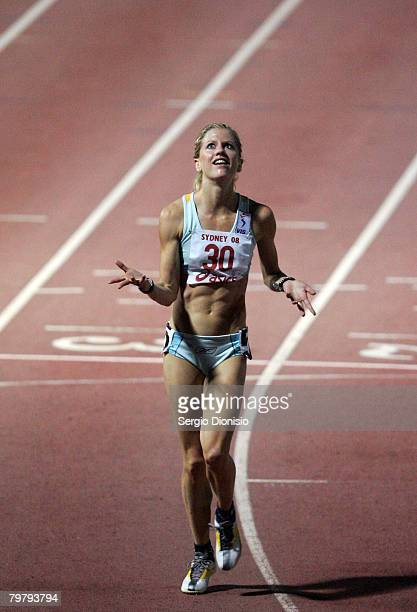 Georgie Clarke of Victoria reacts after winning the Women's 5000 meters Open during the Sydney Athletics Grand Prix held at Sydney Olympic Park...