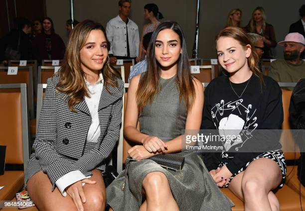 Georgie Flores Melissa Barrera and Britt Robertson attend the Wolk Morais Collection 7 Fashion Show at The Jeremy Hotel on June 26 2018 in West...