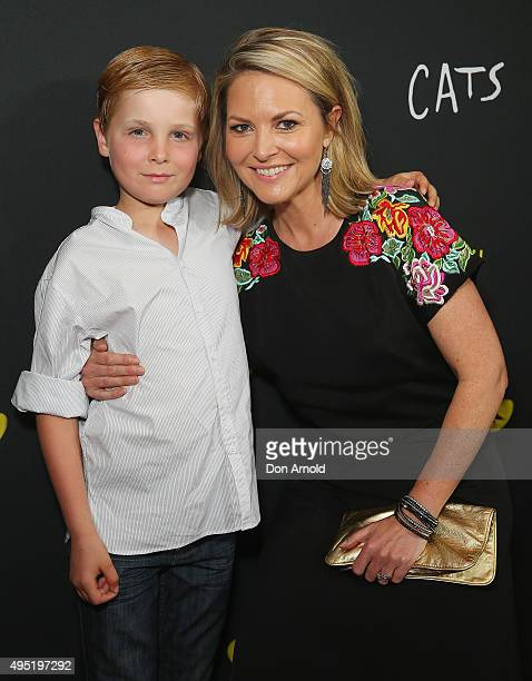 Georgie Gardner and son Angus Baker arrive ahead of CATS opening night at Capitol Theatre on November 1 2015 in Sydney Australia
