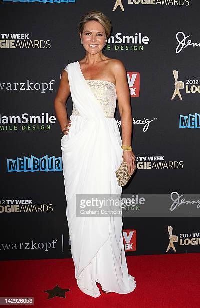 Georgie Gardner arrives at the 2012 Logie Awards at the Crown Palladium on April 15 2012 in Melbourne Australia