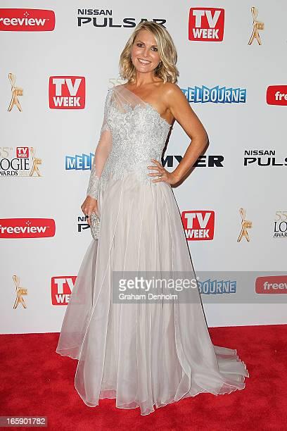 Georgie Gardner arrives at the 2013 Logie Awards at the Crown on April 7 2013 in Melbourne Australia
