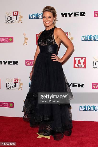Georgie Gardner arrives at the 2014 Logie Awards at Crown Palladium on April 27 2014 in Melbourne Australia