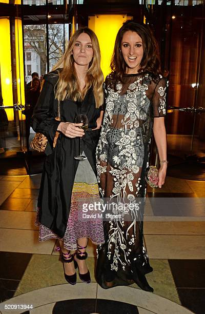 Georgie Macintyre and Rosanna Falconer attend a private view of new exhibition Undressed A Brief History Of Underwear at The VA on April 13 2016 in...