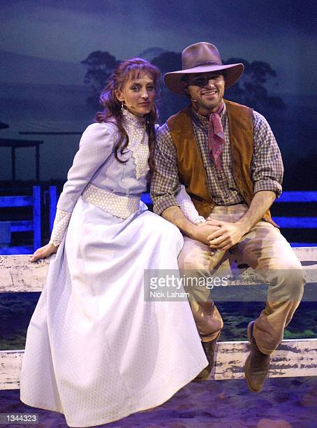 Georgie Parker and Martin Crewe pose for a portrait during a media call for The Man from Snowy River Arena Spectacular held at the Entertainment...