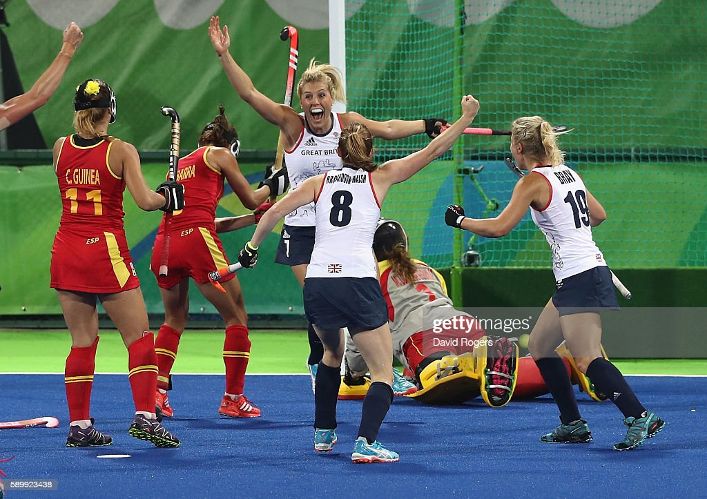 Georgie Twigg of Great Britain celebrates after scoring the first goal during the Women's quarter final hockey match between Great Britain and Spain on Day10 of the Rio 2016 Olympic Games held at the Olympic Hockey Centre on August 15, 2016 in Rio de Janeiro, Brazil.