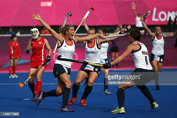 Georgie Twigg of Great Britain celebrates scoring their fourth goal during the Women's Hockey Match between Great Britain and Korea on day 4 of the...