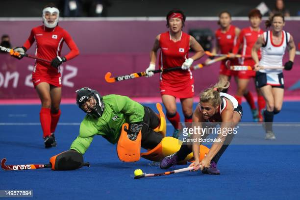 Georgie Twigg of Great Britain scores their fourth goal during the Women's Hockey Match between Great Britain and Korea on day 4 of the London 2012...
