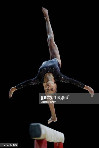 GeorgieMae Fenton of Great Britain competes in the Balance Beam discipline during the Women's Gymnastics Team Final on Day three of the European...