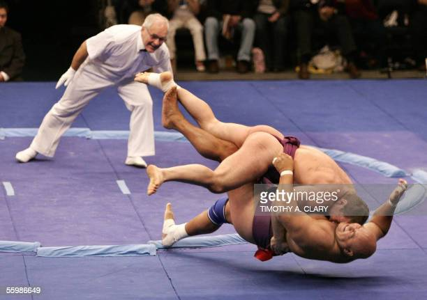 Georgiev Stiliyan of Bulgaria defeats Deszo Libor of Hungary during the 'World SUMO ChallengeBattle of the Giants' at Madison Square Garden in New...