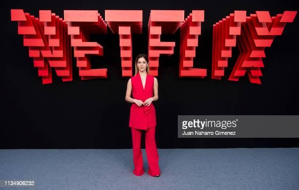 Georgina Amoros attends the red carpet during the Netflix presentation party at the Invernadero del Palacio de Cristal de la Arganzuela on April 4...