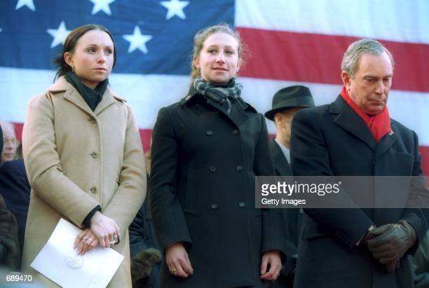 Georgina and Emma Bloomberg join their father Michael Bloomberg on stage during his inauguration as the 108th Mayor of New York City January 1 2002...