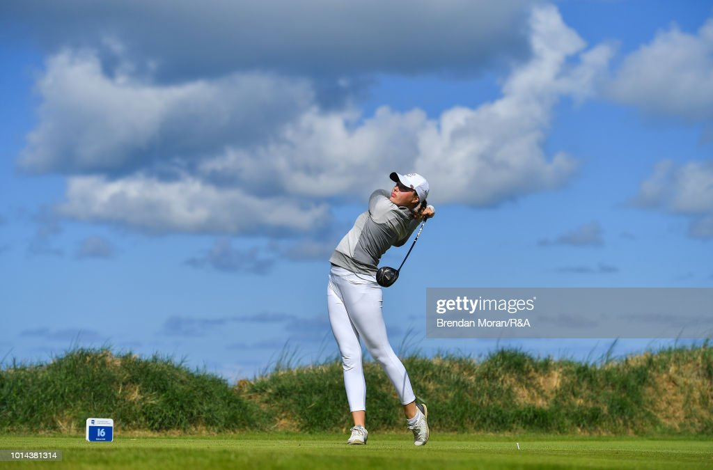 Georgina Blackman of England watches her tee shot from the 16th tee box during their Foursomes match at the Ladies' and Girls' Home Internationals at Ballybunion Golf Club on August 10, 2018 in Ballybunion, Ireland.