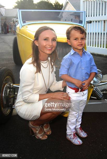 Georgina Bloomberg and her son Jasper Michael Brown Quintana attend Resident Magazine party for cover star Georgina Bloomberg on August 25 2017 in...