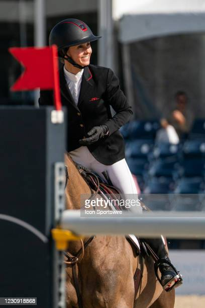 Georgina Bloomberg during the $137,000 FEI NetJets Grand Prix at the Winter Equestrian Festival on January 31, 2021 at The Palm Beach International...