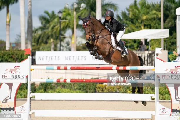 Georgina Bloomberg during the $37,000 FEI CaptiveOne Advisors 1.50m Classic 238.2.2 at the Winter Equestrian Festival on January 30, 2021 at The Palm...