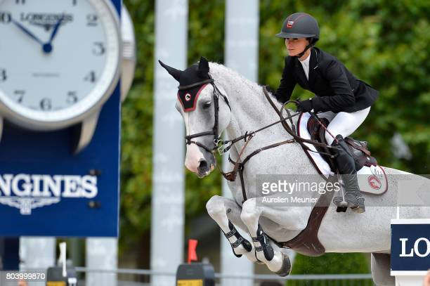 Georgina Bloomberg of The United States of America and Crown 5 compete on day 1 in the 4th Longines Paris Eiffel Jumping competiton on June 30 2017...